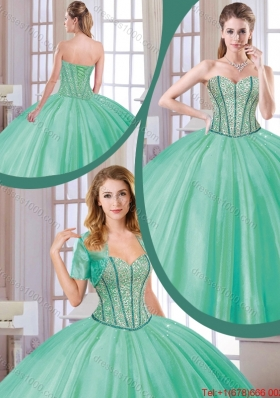 Fashionable 2016 Spring Beading Quinceanera Dresses in Turquoise