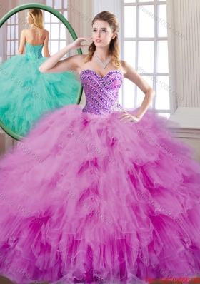Fashionable Beading and Ruffles Quinceanera Dresses in Fuchsia