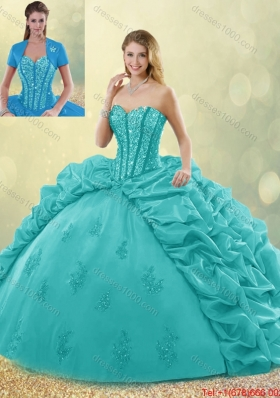 Fashionable Brush Train Pick Ups and Beading Detachable Quinceanera Gowns