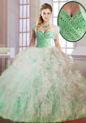 Fashionable Cheap Beading and Ruffles Quinceanera Dresses in Multi Color