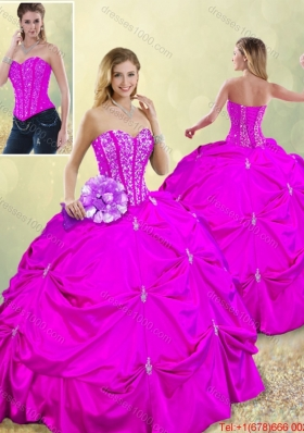 Fashionable Sweetheart Beading Quinceanera Dresses in Fuchsia