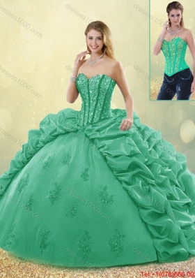 Hot Sale Turquoise Detachable Quinceanera Dresses with Brush Train for 2016 Spring