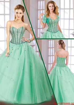 Latest Beading Lace Up Quinceanera Gowns with Sweetheart for 2016