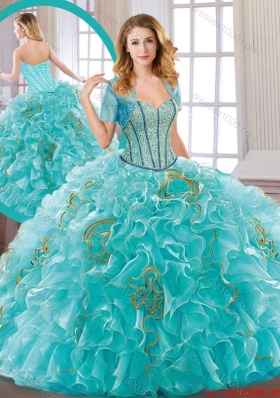 New Arrivals Aqua Blue Quinceanera Dresses with Beading and Ruffles