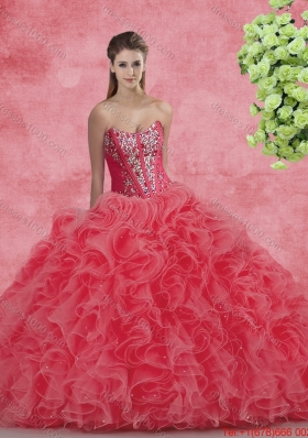 New Style Strapless Beaded and Ruffles Quinceanera Dresses for 2016