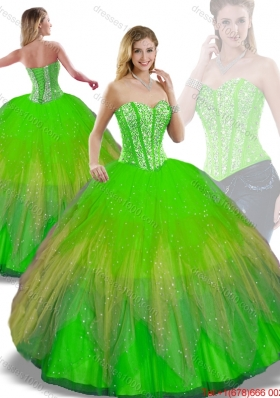 Perfect Ball Gown Multi Color Detachable Quinceanera Dresses with Beading