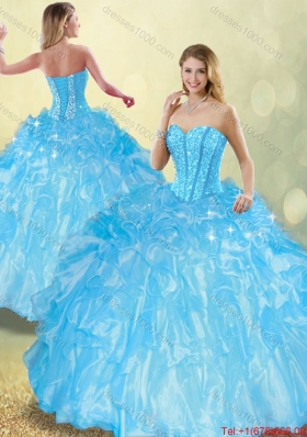 Perfect Ball Gown Quinceanera Dresses with Beading and Ruffles