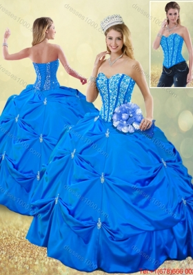 Popular Fall Blue Quinceanera Gowns with Pick Ups