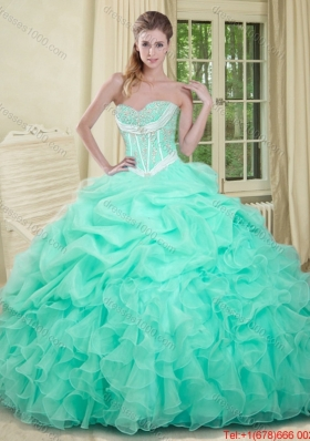 Summer Beautiful Beaded and Pick Ups 2015 Quinceanera Dresses in Apple Green