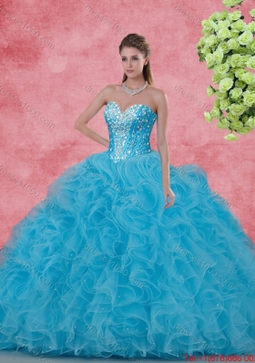 Elegant Ball Gown Beaded Quinceanera Dresses in Aqua Blue