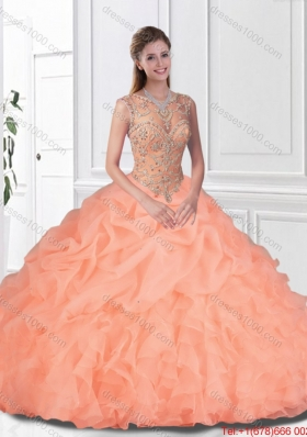Perfect Beaded and Ruffles Watermelon Quinceanera Gowns with Bateau
