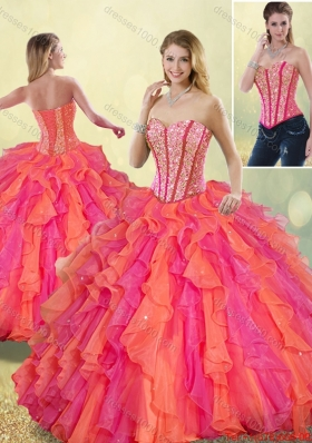 2015 Fall Cheap Beading and Ruffles Quinceanera Dresses in Multi Color