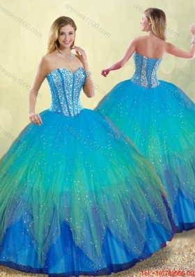 2016 Elegant Beading Ball Gown Sweet 16 Dresses in Multi Color