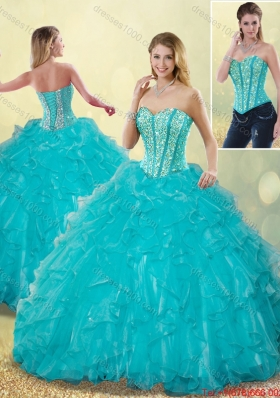 2016 Spring Elegant Aqua Blue Detachable Quinceanera Dresses with Beading and Ruffles