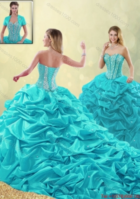 Cheap Beading and Pick Ups Detachable Quinceanera Gowns with Court Train