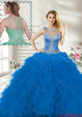 Fall Perfect Scoop Ruffles Blue Sweet 16 Gown with Beading
