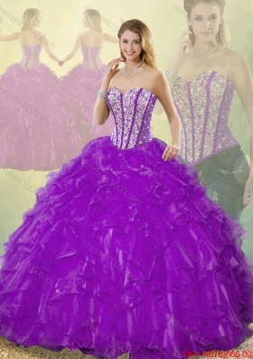 Popular Beading Purple Quinceanera Gowns with Sweetheart