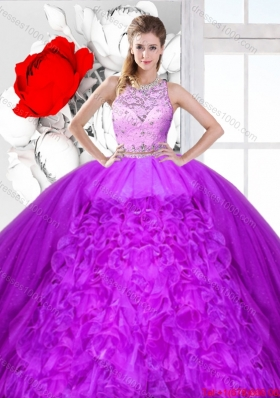 Elegant Scoop Sweet 16 Dresses with Beading and Ruffles