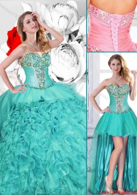 Gorgeous Turquoise Detachable Quinceanera Gowns with Beading for Fall