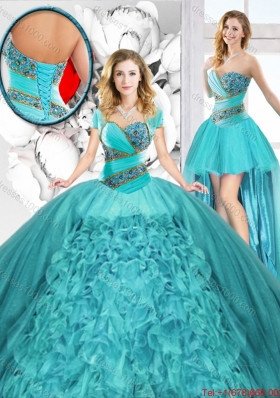 Modest Beaded Detachable Quinceanera Dresses with Sweetheart for 2016 Spring