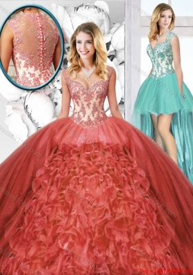 New Arrivals Straps Detachable Quinceanera Dresses in Rust Red