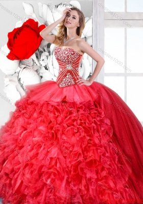Red Sweetheart Perfect Quinceanera Gowns with Beading for Spring