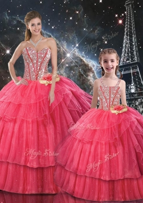 Fashionable Ball Gown Coral Red Princesita With Quinceanera Dresses with Beading for Fall