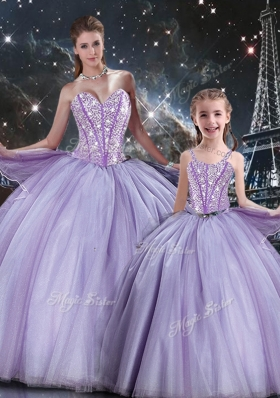 Sweet Ball Gown Beading Princesita With Quinceanera Dresses in Lavender