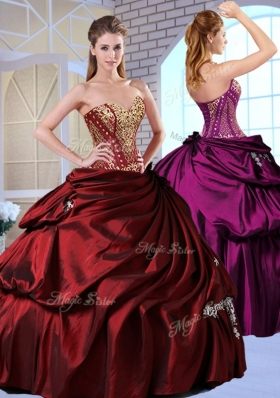 Gorgeous Ball Gown Taffeta Wine Red Quinceanera Gowns with Pick Ups