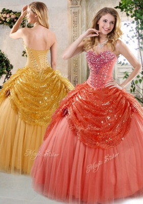 Hot Sale Floor Length Beading and Paillette Quinceanera Gowns for Winter