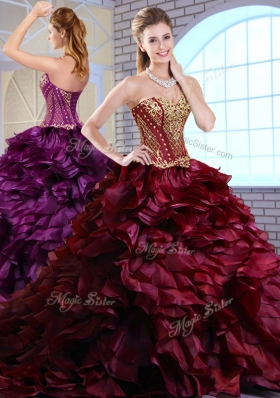 Best Brush Train Ruffles and Appliques Quinceanera Gowns in Wine Red