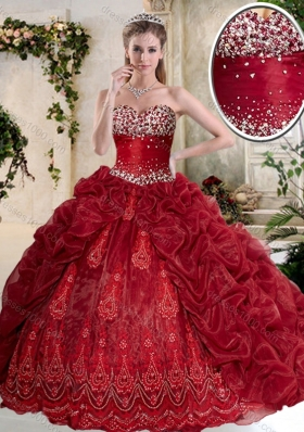 Gorgeous Brush Train Wine Red Quinceanera Gowns with Embroidery