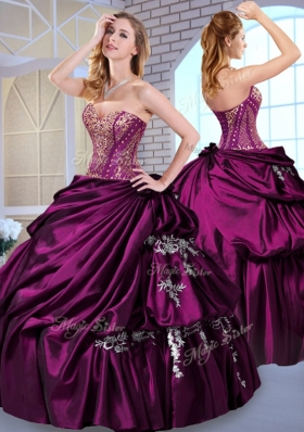 Luxurious Ball Gown Taffeta Dark Purple Quinceanera Dresses with Pick Ups