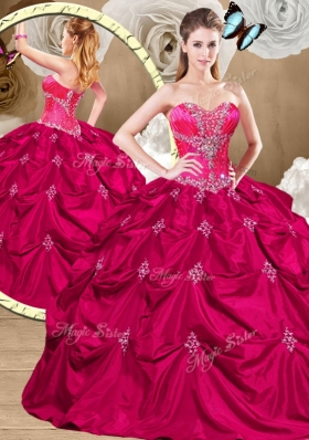 Luxurious Hot Pink Sweet 16 Dresses with Appliques and Pick Ups