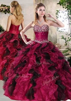 Most Popular Sweetheart Multi Color Sweet 16 Gowns with Beading and Ruffles