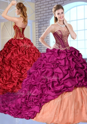 New Arrivals Brush Train Pick Ups and Appliques Quinceanera Gowns