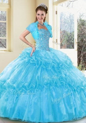 New Style Ball Gown Aqua Blue Sweet 16 Gowns with Beading and Ruffled Layers