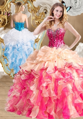 New Style Multi Color Quinceanera Gowns with Beading and Ruffles