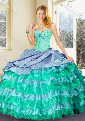 Perfect Ball Gown Multi Color Quinceanera Dresses with Ruffled Layers-1