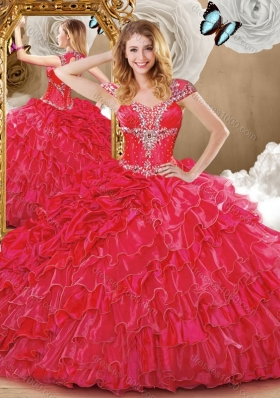 Wonderful Red Sweet 16 Dresses with Beading and Ruffles