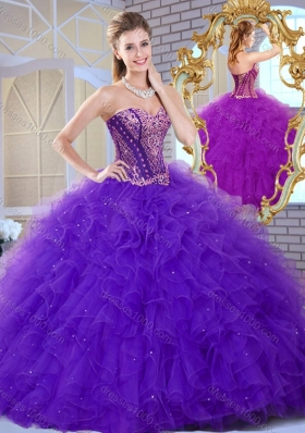 Affordable Sweetheart Ruffles and Appliques Sweet 16 Dresses