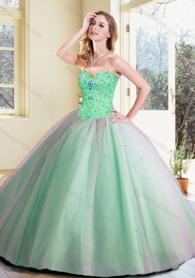 Cheap Ball Gown Beading Quinceanera Dresses in Apple Green
