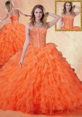 Classical Sweetheart Ruffles Quinceanera Dresses in Orange Red