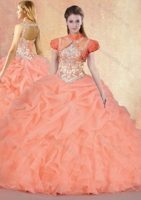 Customized Brush Train Sweet 16 Gowns with Ruffles and Pick Ups