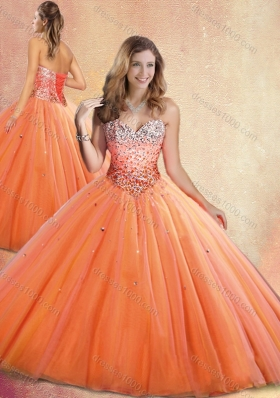 Customized Sweetheart Orange Red Quinceanera Gowns with Beading