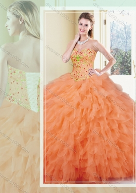 Fashionable Ball Gown Orange Red Quinceanera Gowns with Ruffles