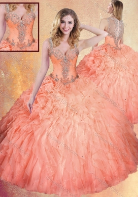 Fashionable Straps Ball Gown Sweet 16 Dresses with Ruffles and Appliques