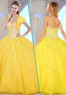 Modest Ball Gown Yellow Sweet 16 Gowns with Beading