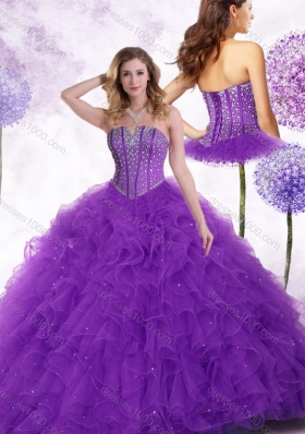 New Arrivals Strapless Purple Quinceanera Gowns with Beading and Ruffles