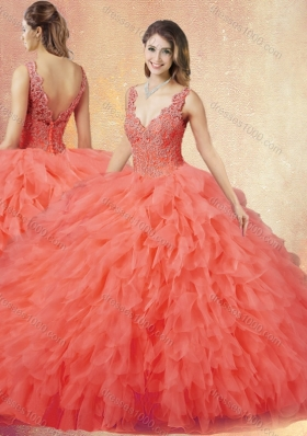 New Arrivals V Neck Sweet 16 Dresses with Ruffles and Appliques